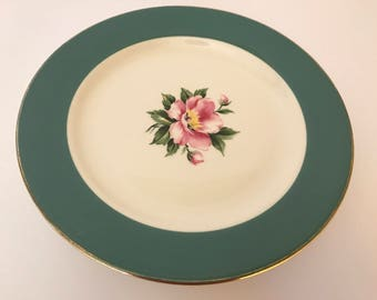 "Vintage (6) set Homer Laughlin Empire Green Salad Plate 8"" with pink roses"