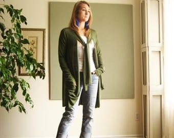 NEW Boho Long Sweater Women Loose Cardigan Oversize Sweater Long Sleeve Extravagant Pockets Bow Tie Collar Hygge XS - XL Lightweight Knit