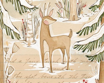 Whimsical deer in the forest - holiday - Archival Art Print-watercolor- woodland - winter - wall decor - Nursery Room Decor - Baby Room -