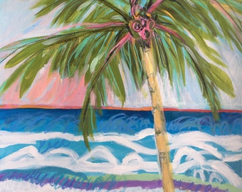 Palm Tree Art Original Painting on 18 x 24 Paper by Karen Fields