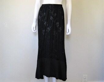 Long Black Cherry Blossom demask Skirt