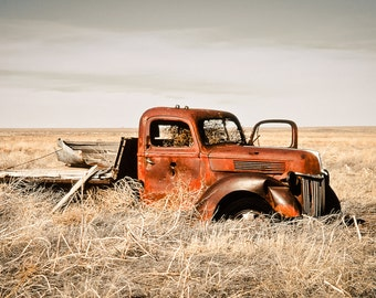 Ford Truck Photography, Ford truck, Ford pick up, rusty Ford truck, vintage Ford truck, landscape, tumbleweeds, red, Rustic Home Decor
