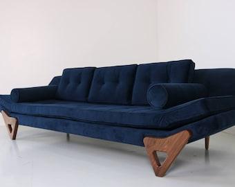 Mid Century Danish Modern Gondola Sofa Style With Walnut Trim