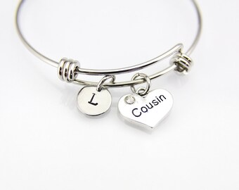 Cousin Bracelet, Cousin Bangle,  Silver Cousin Charm, Cousin Heart Charm, Cousin Gift, Personalized Bangle Initial Charm Initial Bracelet