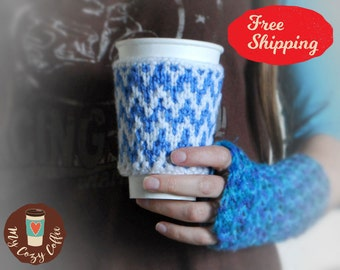 Coffee cozy Coffee sleeve Coffee cup cozy Knitted cup cozy Gifts under 20 Coffee cup sleeves Winter coffee cozy Snow