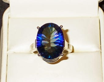 Big Blue Mystic size 7 ring in solid .925 Sterling Silver