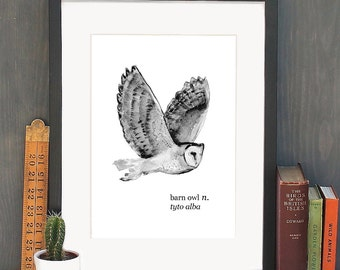 A4 Flying Barn Owl Watercolour Art Print