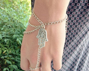 Silver Hamsa Belly Dancing Bracelet, Gypsy Bracelet Brings It's Owner Happiness, Luck, Health and Good Fortune The Perfect Gift