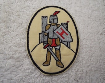 Medieval Knight Monogram H Embroidered Iron-on Patch