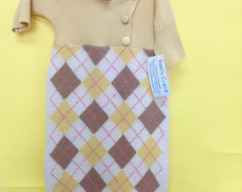 Golden Cashmere Baby Bunting, Soft, cozy and warm! Argyle cashmere sweater, infant wear, baby wooly bunting