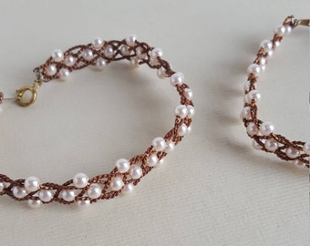 Vintage copper wire and faux pearl bracelets