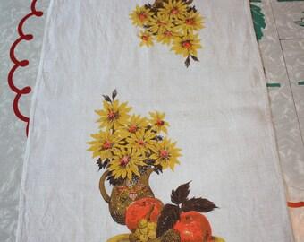 Floral Linen Vintage Kitchen, Tea Towel, Earth Tones
