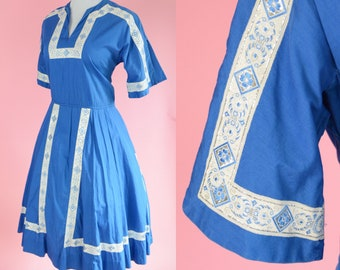 Vintage Blue,Silver, Boho Dress // Swiss, Dutch, Farm Girl, Milk Maid, Sound of Music Costume, Womens Size Large