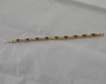 Gold Tone Bracelet with Garnet & Rhinestones