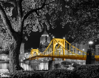 Sprung Re-Envisioned Selective Color North Shore Night Photo, Matted or Metal Print - Pittsburgh Skyline Bridge Photograph Picture