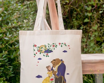 Beauty and the beast fairy tale tote bag-Belle tote-the beast tote bag-fairy tale tote-Christmas gift-tote-school bag-NATURA PICTA NPTB051