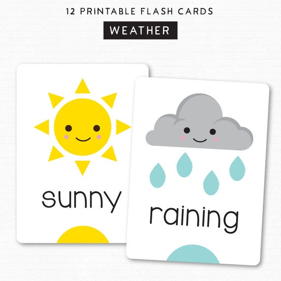 kids flash cards learn weather printable cards 12 cute