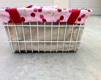 LIMITED EDITION Reversible Bicycle Basket Liner Tote Bag: Cherries and Black Gingham