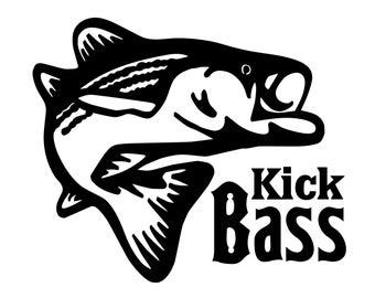 Bass Fishing Decal , Kick Bass Sticker, Bass fisherman decal