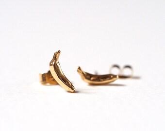 Banana Stud Earrings, Gold Stud Earrings, Bananas, Banana Earrings, Banana Studs, Gold Earrings,  Handmade 9ct Gold, RockCakes