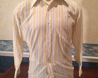 Striped Dress Shirt - 1970s - Mens - Medium - Casual - Preppy - Dressy - Yellow - Light Colors  - Long Sleeves - Versatile Vintage Shirt