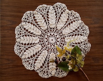 Vintage Crochet Doily, Large 17 Inch Crocheted Doily, Table Topper