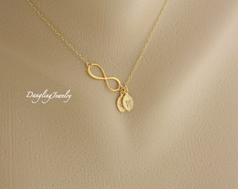 Two Initial Necklace, Infinity Necklace, Personalized Eternity Necklace, Mothers Daughter Necklace, Christmas Gift, Family Jewelry Gift