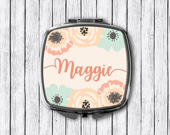 Floral Name Mirror, Personalized Compact, Custom Mirror