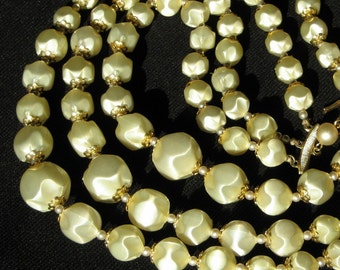 BaroQue Vintage Pearls Necklace Multi Yellow Wedding Bold Statement 3 Strand Signed Japan Mad Men Graduated Mid Century Modernist Jonquil