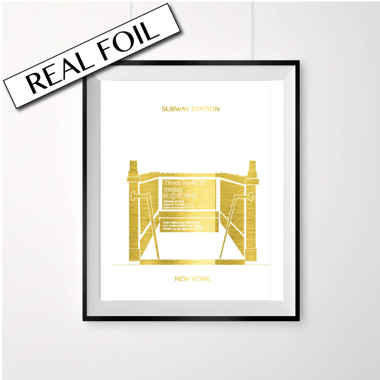 REAL GOLD FOIL New york print subway station street scape