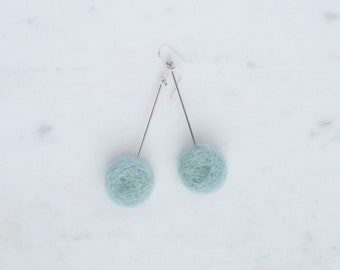 Blue felted circle earrings