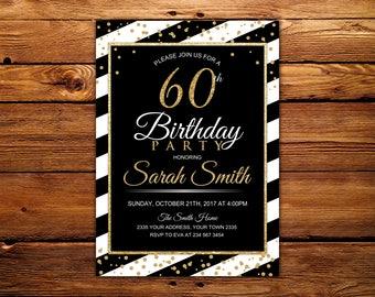 60th Birthday Invitation. Gold 60th Invitation. Gold Adult Invitations. Gold Glitter Invitation. Any age -30th, 40th, 50th, 70th, 80th, 90th