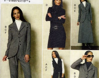 Vogue 8939 Sewing Pattern Free Us Ship Vest Pants Suit Jacket Skirt Blouse Pants Size 12/20 Bust 34 36 38 40 42 Plus (Last size left)