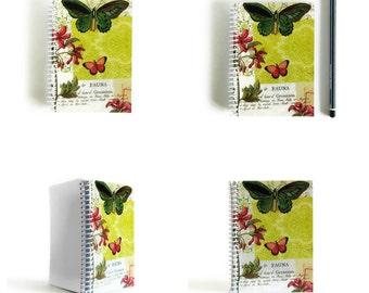 Green Butterflies and Flowers Notebook - Spiral Bound A6