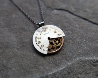 """Watch Face Necklace """"Faherty"""" Deconstructed Cut Dial Pendant Recycled Upcycled Gear Art Steampunk A Mechanical Mind Gift Idea"""