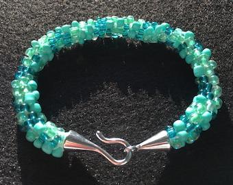 Aqua Ocean Mix Kumihimo Beaded Bracelet