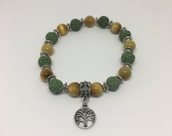 Adult Tree of Life Chakra Bead and Lava Rock Bracelet