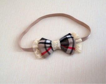 Headband with fabric bow around Scotland and lace cream