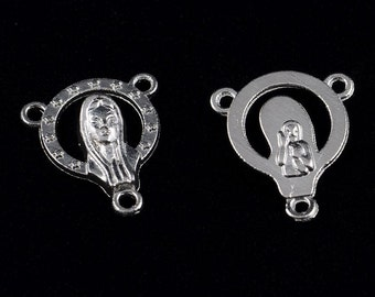 Rosary Center Medal Silver Mother Mary Silhouette Rosary Parts Zinc Alloy