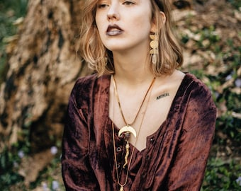 Lilith Rising Snake Necklace with Mottled Lepidolite Crystal / Lilith of the South Collection