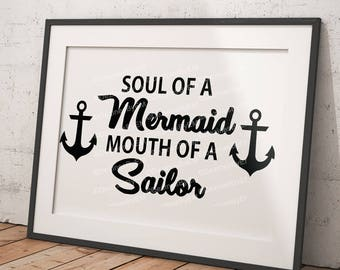 Soul of a Mermaid Mouth of a Sailor SVG Perfect for all Mermaid Lovers Great for Car Decal