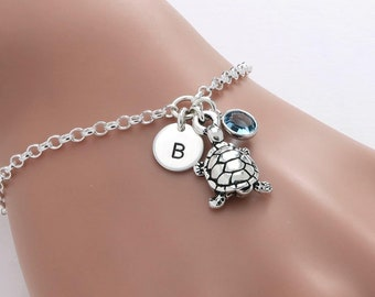 Personalised Tortoise Bracelet, birthstone crystal, initial, gift for her, turtle jewellery