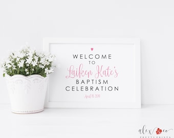 Welcome Printable for Baptism. Baptism Sign Girl. Baptism Party. Printable Welcome Signs. Baptism Sign. Baptism Decorations. Baptism Girl.