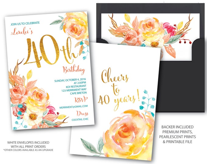 Fall 40 Birthday Invitation // 40th Birthday Invitation // Boho Chick // Cheers to 40 years // Gold // Watercolor// CAPE BRETON COLLECTION