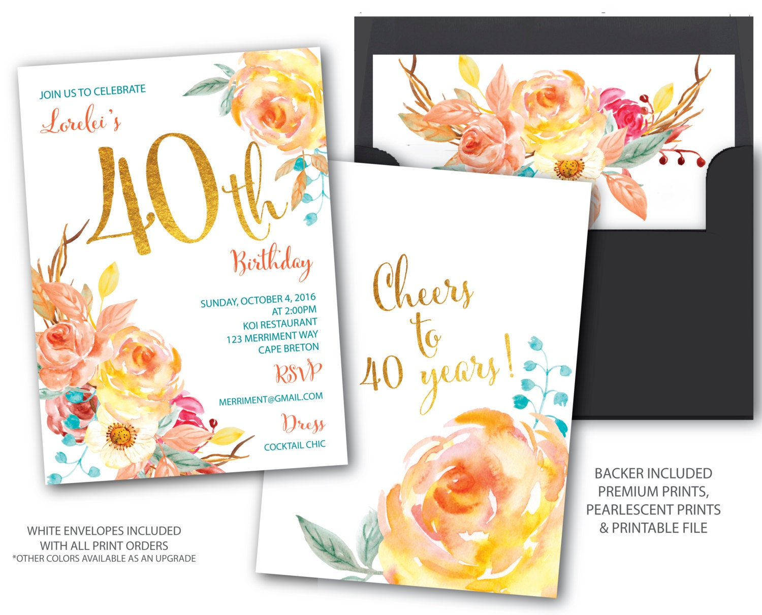 Fall 40 birthday invitation 40th birthday invitation boho fall 40 birthday invitation 40th birthday invitation boho chick cheers to 40 years gold watercolor cape breton collection stopboris Gallery