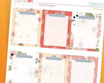 """Clipboard Stickers, Clipboard Planner Stickers - """"Red Poppies"""" - CB023"""