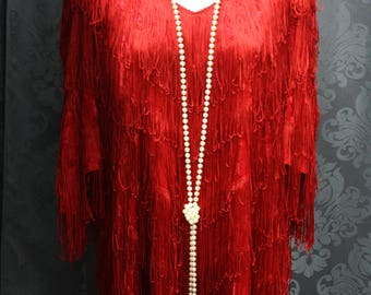 1920's Plus Size Red Fringe Dress/Full Fringe/Great Gatsby/Roaring 20's/Halloween/1920's Themed Party/Midi Fringe Dress/Great Gatsby Dress