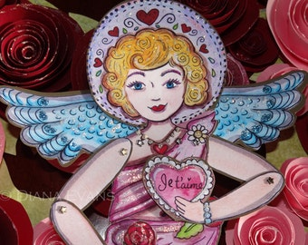 PDF  - Je t'aime Love Angel Paper Doll - make your own
