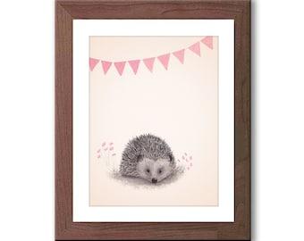 Woodland Nursery Art - Hedgehog Watercolor Print - Woodland Nursery Decor - Pink and Gray Nursery Art - Baby Girl Nursery Art - H105