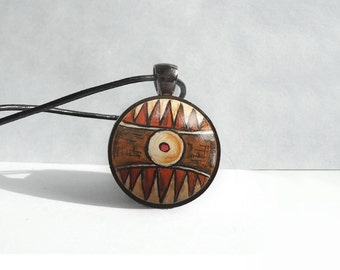 African Painting Pendant Necklace, Hand Painted Jewelry, Tribal Art, Bezel Necklace, Black Leather Cord Brown Necklace, Handcrafted Jewelry